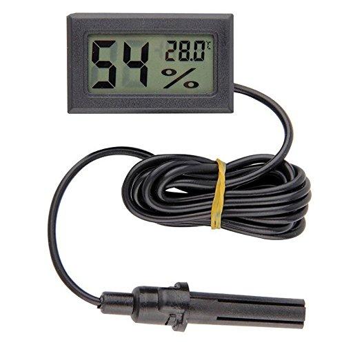 diymore LCD Digital Mini Embedded Thermometer Hygrometer Temperatur Luftfeuchtigkeit Meter Sonde für Reptil Inkubator Aquarium Geflügel (schwarz mit Kabel)