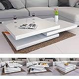 Deuba Couchtisch Hochglanz weiß | 360° drehbar | Cube Design | modern | 80 x 80 cm - Wohnzimmertisch Beistelltisch Design Lounge Tisch Sofatisch