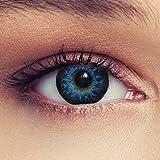 Designlenses Cosplay Kontaktlinsen mit Sehstärke High intensive Farbige Monatslinsen weich, 2 Stück, BC 8.8 mm/DIA 14.5 mm / -2.75 Dioptrien, blau
