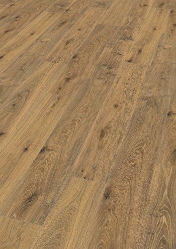 EGGER Home Comfort-warm und leise-Korkboden braun in Holzoptik EHC012 Forth Worth Eiche geräuchert (8mm Stärke, 8 Dielen=1,995m² im Paket) Kork Laminat mit Trittschalldämmung