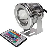LempnBest 10W LED Flutlicht Fluter Strahler Licht RGB Scheinwerfer DC12V mit Fernbedienung