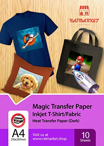 Transferpapier Bügelpapier für dunkles Gewebe (magisches Papier) von Raimarket   10 Blatt   A4 Inkjet Bügeleisen auf Papier / Transferfolie / T-Shirt-transfers   Textilefolien   DIY Stoffdruck (10)
