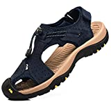 rismart Herren Closed Zu Draussen Sport Trekking Schuhe Leder Sandalen SN1505(Marine,44 EU)