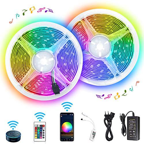 WiFi RGB LED Streifen, 10m IP65 Wasserdichte Farbwechsel Musiksynchronisation, Sprachsteuerung kompatibel mit Alexa Echo, Google Assistent, LED Strp für Deko Party Weihnachten