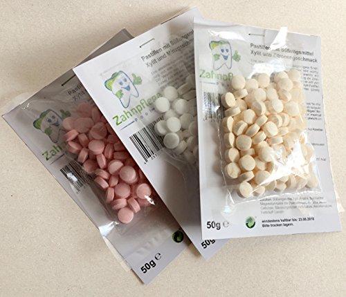 Zahnpflege Pool | Süßigkeiten für gesunde Zähne | Pastillen mit Süßungsmittel Xylit und Erdbeer-, Minze- und Zitronengeschmack | 150g Probepackung | zuckerfrei | Betthupferl mit Kariesschutz