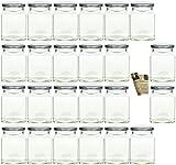 gouveo 24er Set Einmachgläser 'Quadrat' 314 ml incl. Drehverschluss Silber, Vorratsgläser, Marmeladengläser, Einkochgläser, Gewürzgläser, Einweckgläser