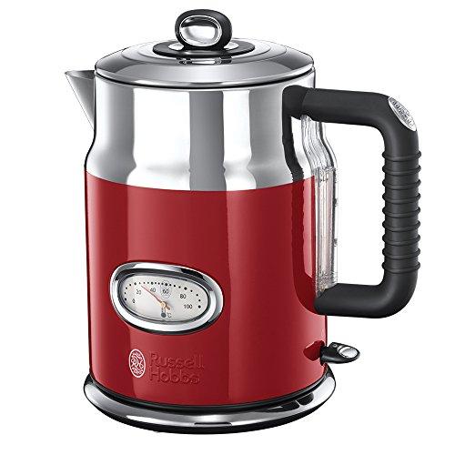 Russell Hobbs Retro Ribbon Red 21670-70 Wasserkocher (2400 W, mit stylischer Wassertemperaturanzeige Schnellkochfunktion) rot