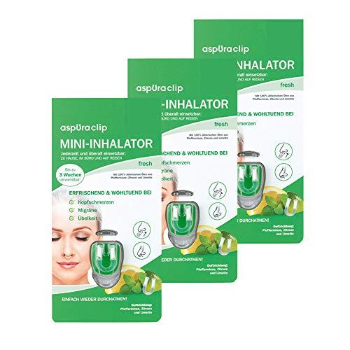 aspUraclip Mini-Inhalator fresh (3er Pack)   Erster Mini-Inhalator für die Nase   Mit Ölen aus Pfefferminze, Zitrone & Limette   Kann bei Kopfschmerzen, Migräne, oder Übelkeit helfen