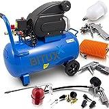 BITUXX 50 Liter Druckluftkompressor Luftdruck Kompressor + 13 teiliges Druckluft Zubehör-Set inkl. Ausblas- Reifendruck- & Lackierpistole + Schlauch