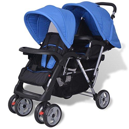 vidaXL Geschwisterwagen Geschwister-Kinderwagen Baby Zwillingsbuggy Blau/Schwarz