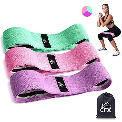 CFX Resistance Hip Bands, Fitnessbänder Set Yogagurt in 3 Zugkraftstärken Trainingsband Yogaband ALS Widerstand und Unterstützung fürs Beintraining, Krafttraining und Klimmzüge