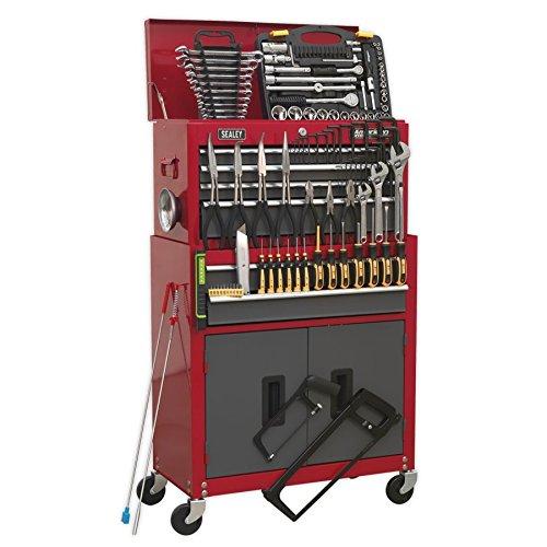 Sealey Werkzeugkiste ap2200bbcombo & Werkzeugschrank Kombination 6Schublade mit Kugellager Folien–Rot/Grau & 128pc Tool Kit