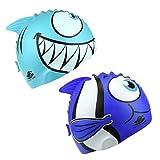 2 Teilig Kinder Haifisch/Niedlicher Fisch Bademütze Set Schwimm Kappe Mütze Silikon Swimming Cap Kit Super-Stretch Badekappe Farbauswahl Einheitsgröße
