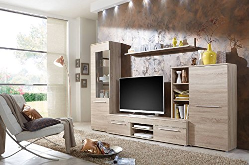 Wohnwand Wohnzimmerschrank Schrankwand TV-Element Anbauwand CANNES in Eiche Sonoma - 288 cm breit / 181 cm hoch / 36 cm tief Made in Germany