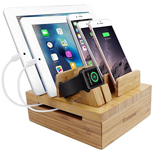 Bambus 5 Steckplätzen abziehbarer Tablet- und Handyhalter Desktopspeicher für Apple Watch, iPhone, iPad, iWatch-Ständer/ Drahtspeicher/ Ladestation für mehrere Geräte