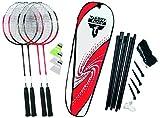 Talbot-Torro Badminton-Set 4-Attaccker Plus, 4 Schläger, 3 Federbälle, komplette Netzgarnitur, in wertiger Tasche, Komplettset, Federballset, 449515