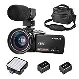 CofunKool 4k Ultra HD Camcorder nachtsicht infrarot Videokamera 30 FPS Video Camcorder WIFI Kamera Webcam HDMI - ausgang Camcorder 13.0 Mega pixels mit Externem Mikrofon und LED Kamera Licht + Weitwinkelobjektiv + 2 Batterien