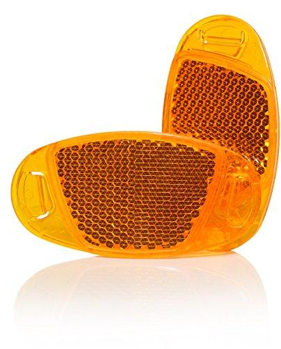 4x Starkreflektierende Speichen-Reflektor in Orange von KELLAGO / Katzenaugen-Reflektoren / Fahrrad-Speichen-Reflektoren / Stvzo zugelassen [ mit starker Reflektionsfunktion für hohe Sicherheit! ]