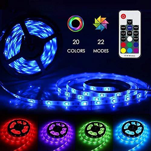 LED Strip Lichterkette, ZKNEN 5m RGB Farbänderung LED Streifen Lichtband Kit mit Fernbedienung und Controller für Zuhause, Schlafzimmer, TV, Decke, Schrankdeko, Hell 5050 LED Band, Schnittbar