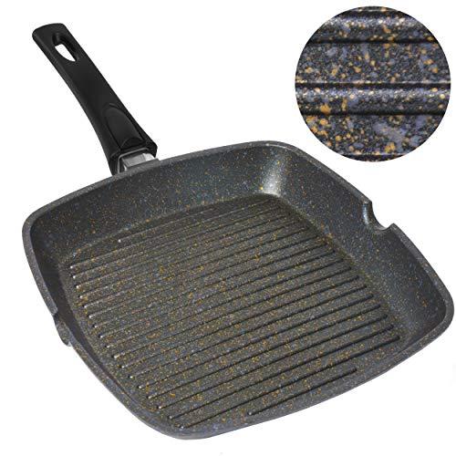 Home Icon Kupfer Granit Grillpfanne 29 cm Abnehmbarer Griff, Induktion, kompatibel mit Gas- und Elektroherden, Whitford Antihaftbeschichtung, backofenfest
