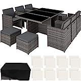 TecTake 403086 Aluminium Poly Rattan Sitzgruppe 6+1+4, klappbar, für bis zu 10 Personen, inkl. Schutzhülle und Edelstahlschrauben, grau