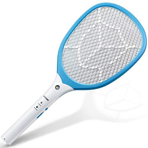 CYOUH Elektrische Fliegenklatsche Fliegenfänger Moskito Zapper/Insektenvernichter mit LED-Beleuchtung und USB wiederaufladbar - Doppelte Schichten Mesh Schutz (Blau)