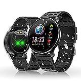 HOLALEI Smartwatch, Fitness Armband Wasserdicht Smart Watch Intelligente Fitness Tracker Aktivitäts Uhr Armbanduhr mit Pulsmesser Schlafmonitor Anruf Beachten Damen Herren für Android iOS (Schwarz)