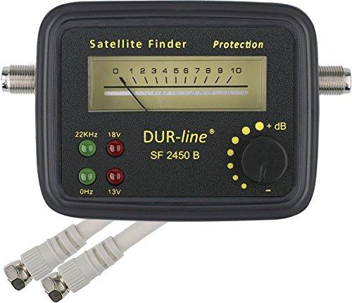 DUR-line SF 2450 B - Satfinder - Messgerät mit Gummi-Schutzhülle zur exakten Justierung Ihrer Digitalen Satelliten-Antenne - mit hoher Eingangsempfindlichkeit - inkl. F-Kabel und ausführlicher deutscher Anleitung