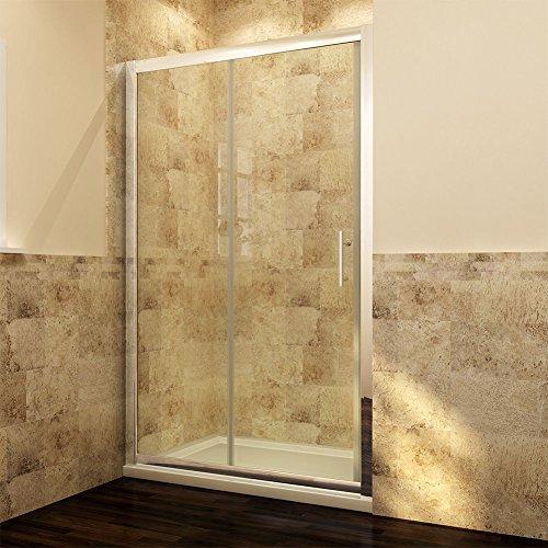 Duschabtrennung 120cm Nische Doppel Schiebetür Duschtür 2-flügelig Echtglas