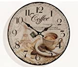 Wanduhr aus Glas INKLUSIV Batterie - Motiv: Coffee Kaffee Cafe Espresso Cappuccino - Küchenuhr Glasuhr - Uhr Größe 34cm rund