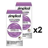 Simplicol Textilfarbe Intensiv (18 Farben), Lavendel Lila 1807 2er Pack: Einfaches Textilfärben in der Waschmaschine, Komplettpackung mit Färbemittel und Fixierpulver