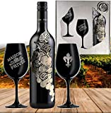 L'uva Bella inkl. 2 schwarzen Kristall-Weingläsern   Rotwein Geschenk-set für Partner, Freunde und Liebende   Edel-Cuvée aus Italien   Luxus-Vintage Rotwein   Silber-Hochzeit Geschenkset
