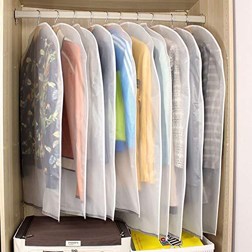 10st. Kleidersäcke Kleiderhülle transparent 120/100 cm lang Staub Schutz für Mantel Anzug Daunenjacke Rock Abendkleid Aufbewahrung Sack mit Reißverschluss, wasserdicht, dick, Ordnungssystem im Schrank