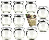 gouveo 40er Set Leere Einmachgläser Henkelglas 106 ml incl. Drehverschluss Silber, Vorratsgläser, Marmeladengläser, Einkochgläser