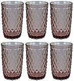 Vintage 6 Teile Set Glasnetz König Trinkglas Glas Gläser Weingläser Wasserglas Longdrinkglas (lila)