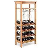 Homfa Bambus Weinregal Dies für 16 Flaschen bis zu 9 Gläser Flaschenregal mit Gläserregal und 2 Ablagen Weinschrank Weinhalter Weinständer 100×47×29cm (H×L×B)