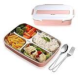 Lunchbox - Praktische Bento Box für den Transport von Mahlzeiten - Design Brotdose für die Schule und Arbeit - Meal prep Container für Kinder & Erwachsene (Rosa)