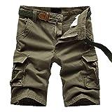 ELETOP Herren Shorts Cargo Sommer Mode Shorts Tarnung Lounge Lässige Shorts Reines Gelb JD01-XL