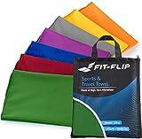 Fit-Flip Set: 70x140cm + 30x50cm + Tasche/dunkel Grün, microfaser handtücher Sport microfaser handtücher schwarz microfaser handtücher Strand microfaser handtücher schnell trocknend