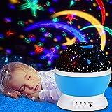 Sternenhimmel Projektor, Omitium LED Nachtlicht Sternenprojektor 360° Rotierend Projektionslampe Romantische Sternenhimmel LED Projektor Perfekt für Parteien,Kinderzimmer,Weihnachten - Blau