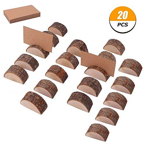 Tagaremuser 20 Stück rustikale Holz Kartenhalter halbrunde Hochzeit Tischnummer Inhaber aus Holz Memo Bilder Kartenhalter mit 25 Stück Kraftkarten