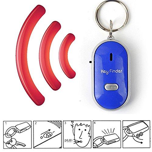 Bloomma Schlüsselfinder, LED-Schlüsselanhänger, Pfeife, Geräuschsteuerung mit An-/Aus-Schalter, Anti-Verlust-Alarm-Tracker für Familie, Zuhause, Kinder, ältere blau