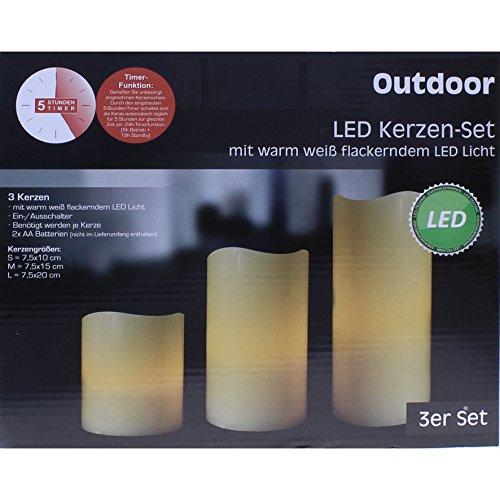 LED Kerzen-Set 'Outdoor', 3-teilig, mit Timer