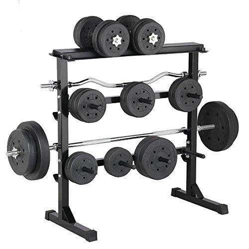 Yaheetech Hantelablage Hantelständer Scheibenständer max. Belastbarkeit 300 kg für Langhanteln und Gewichtsscheiben Rutschfest