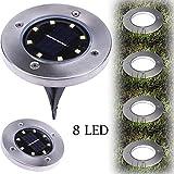 Goosun acht LED Solar Macht Begraben Licht Boden Lampe Im Freien Pfad Weg Terassendielen für Garten Rasen Hof Solarbetriebenes Bodenlicht Wohnkultur Wohnzimmerlampe Nachtleuchte Weihnachtsbeleuchtung (1 PCS, Kaltes Weiß)