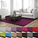 Shaggy Teppich Barcelona | weicher Hochflor Teppich für Wohnzimmer, Schlafzimmer und Kinderzimmer | mit GUT-Siegel und Blauer Engel | verschiedene Größen | viele moderne Farben | 160x160 cm | Berry