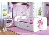 Kocot Kids Kinderbett Jugendbett 70x140 80x160 80x180 Weiß mit Rausfallschutz Matratze Schubalde und Lattenrost Kinderbetten für Mädchen und Junge - Fee mit Schmetterlingen 180 cm