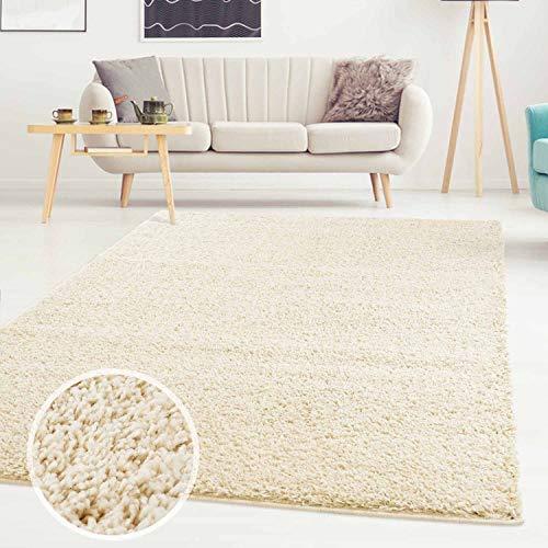 ayshaggy Shaggy Teppich Hochflor Langflor Einfarbig Uni Creme Weich Flauschig Wohnzimmer, Größe: 160 x 230 cm