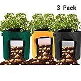 FGASAD Gartenkartoffelbeutel, umweltfreundliche Gartenpflanzen, belüftete Pflanzen, Topfbehälter, Innen- und Außenpflanzen, 3 Stück