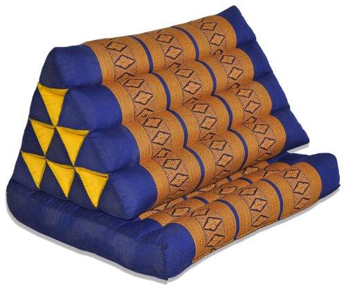 Kapok Thaikissen, Dreieck mit einer Auflage in verschiedenen Farben (82101 - blau/orange)